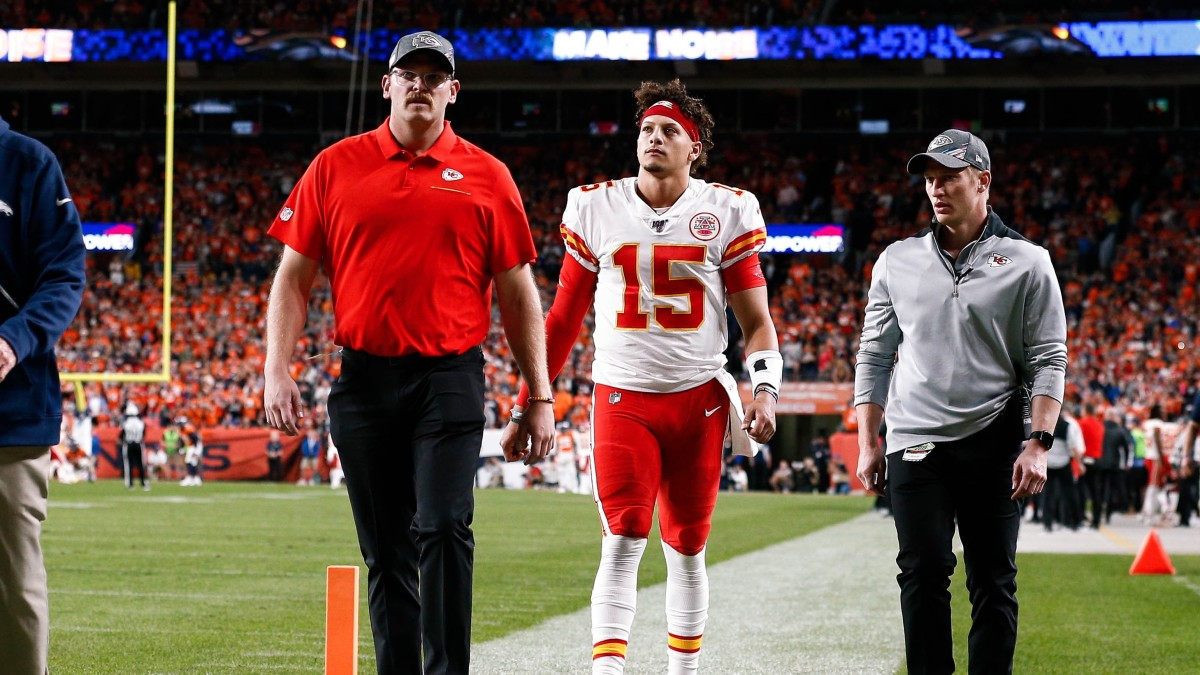 Patrick Mahomes walks off the field during the Chiefs' Thursday night win against the Denver Broncos.