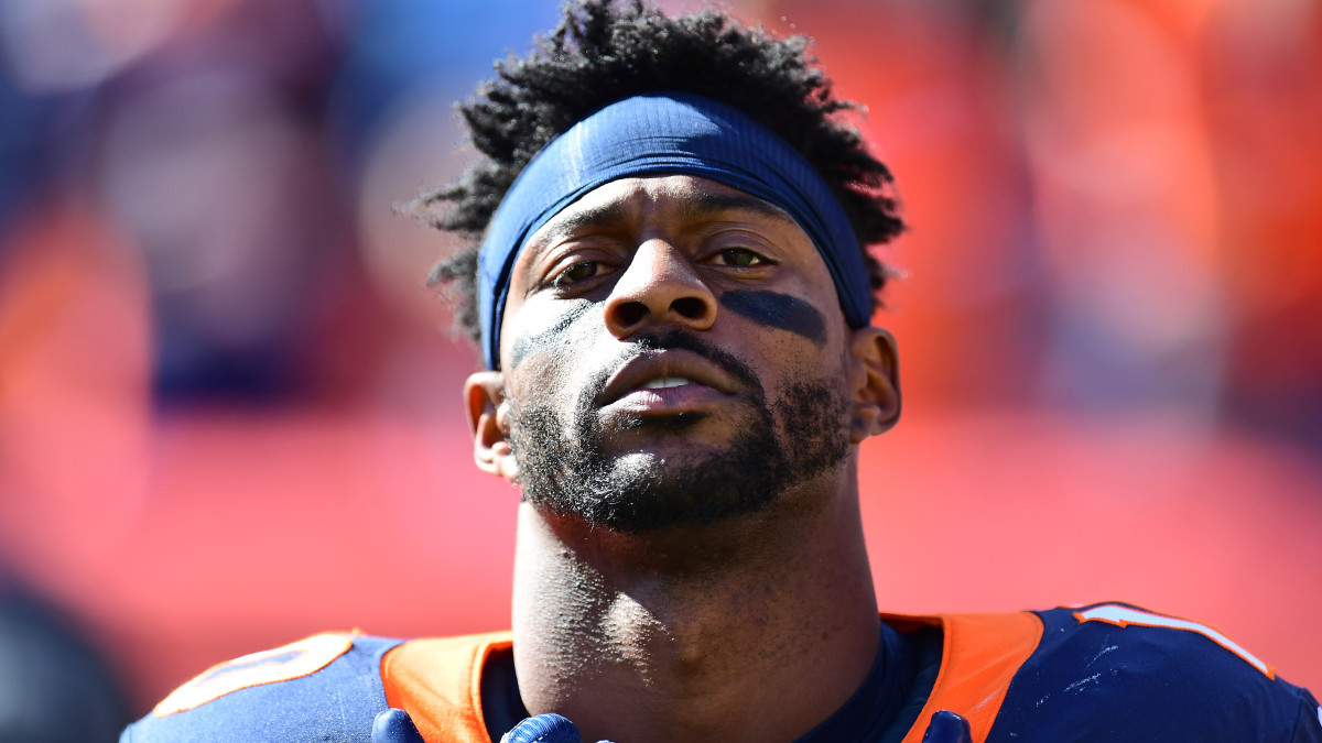 Emmanuel Sanders before the game against the Tennessee Titans at Empower Field at Mile High Stadium.