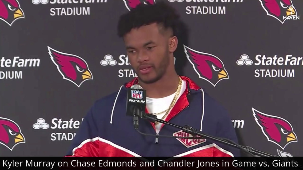 Kyler Murray answers questions after the Cardinals defeated the Giants last Sunday.