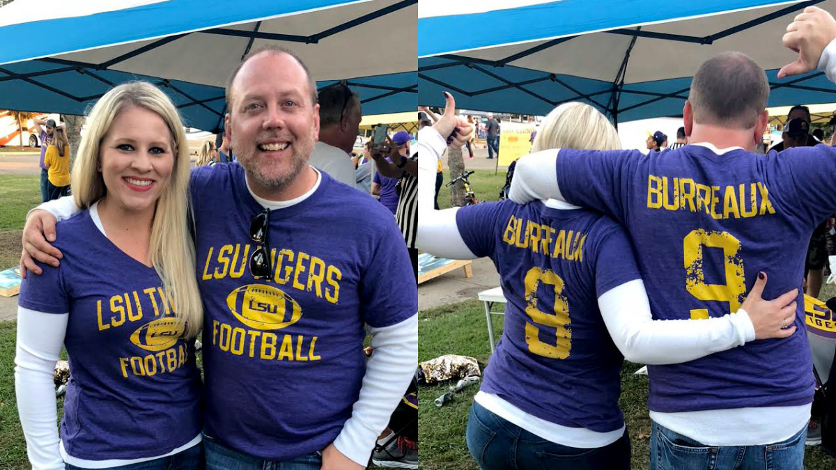 Matt Porter, right, and his longtime girlfriend, Carisa, are pictured here in Joe Burrow shirts before LSU's game last year against Alabama.