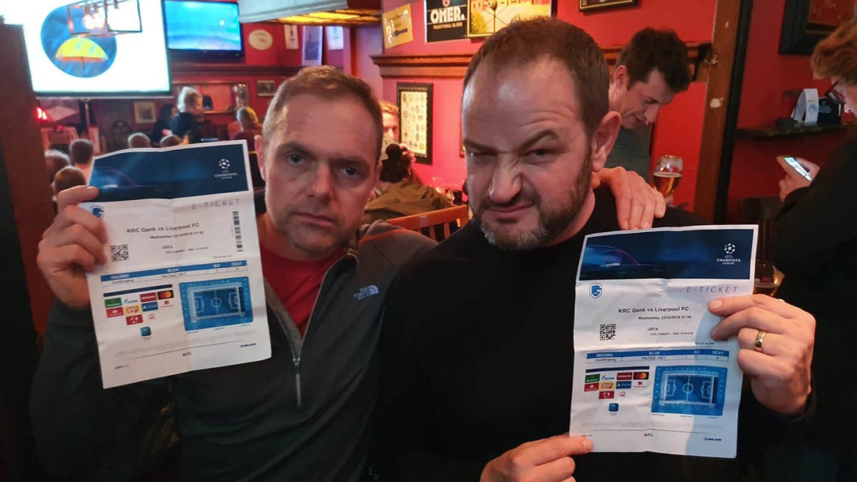 Two Liverpool fans in Belgium for Champions League game