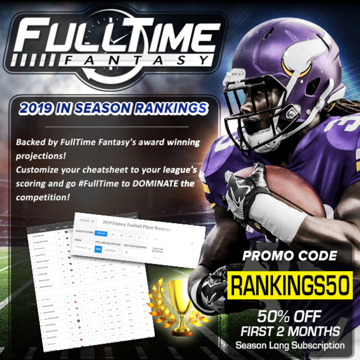 Customizable Fantasy Football Rankings