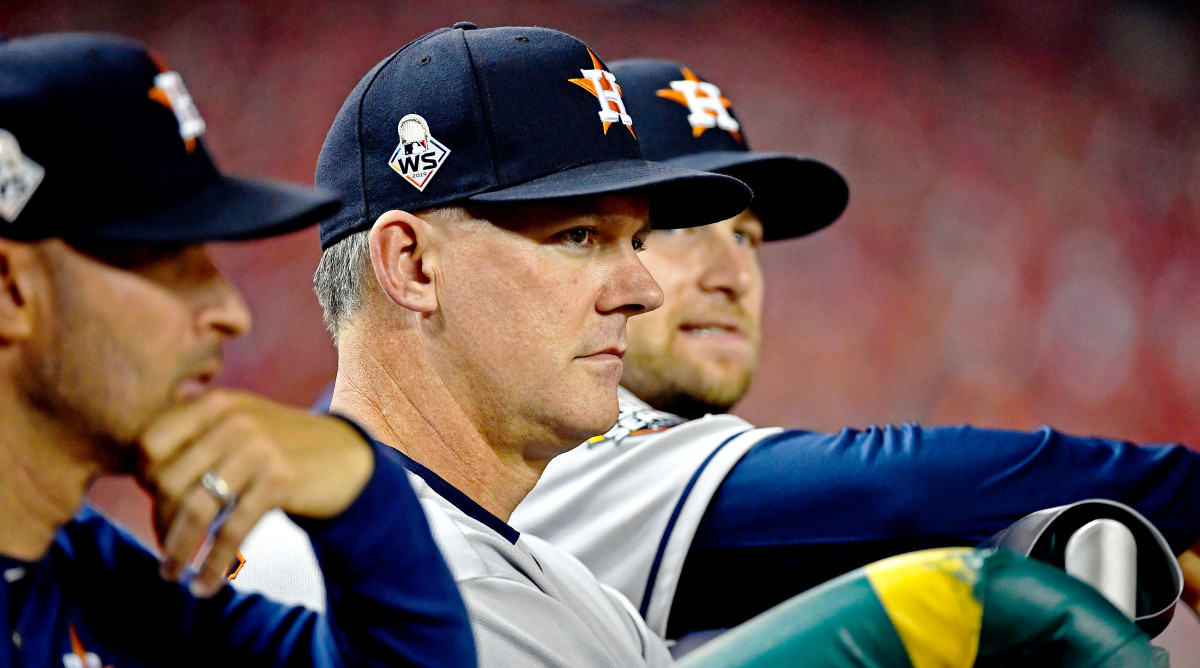 Oct 25, 2019; Washington, DC, USA; Houston Astros manger A.J. Hinch during the first inning against the Washington Nationals in game three of the 2019 World Series at Nationals Park. Mandatory Credit: Brad Mills-USA TODAY Sports