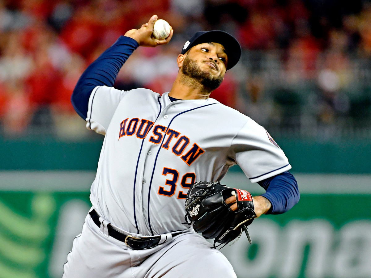 Oct 25, 2019; Washington, DC, USA; Houston Astros relief pitcher Josh James (39) pitches during the fifth inning against the Washington Nationals in game three of the 2019 World Series at Nationals Park. Mandatory Credit: Brad Mills-USA TODAY Sports