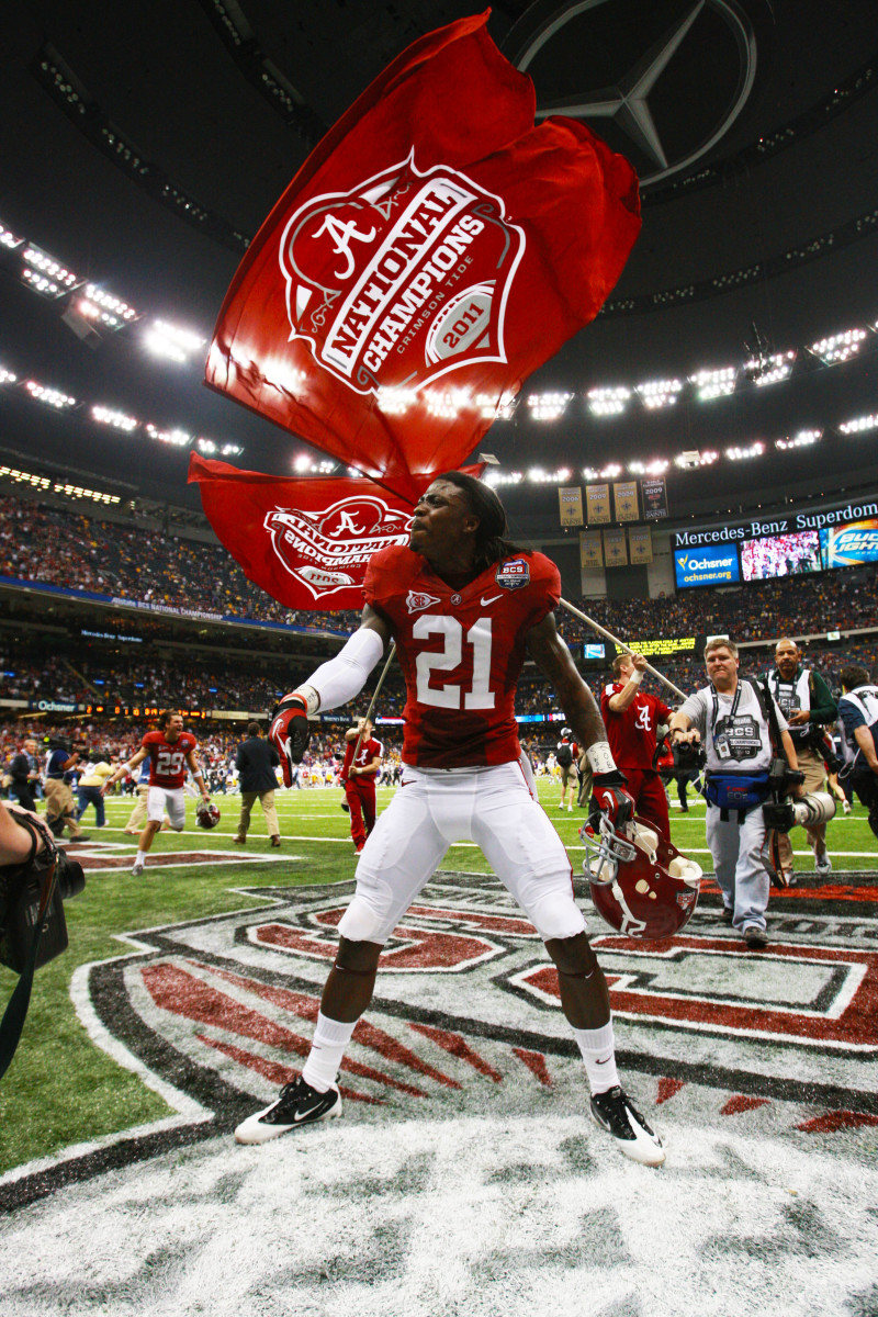 Dre Kirkpatrick celebrates Alabama winning the 2011 national title