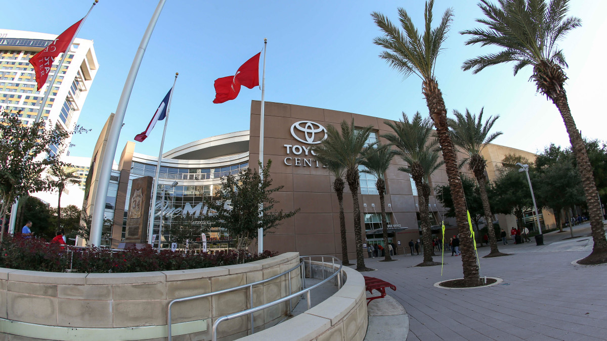 Protestors gathered outside the Toyota Center ahead of the Rockets game to support Hong Kong.