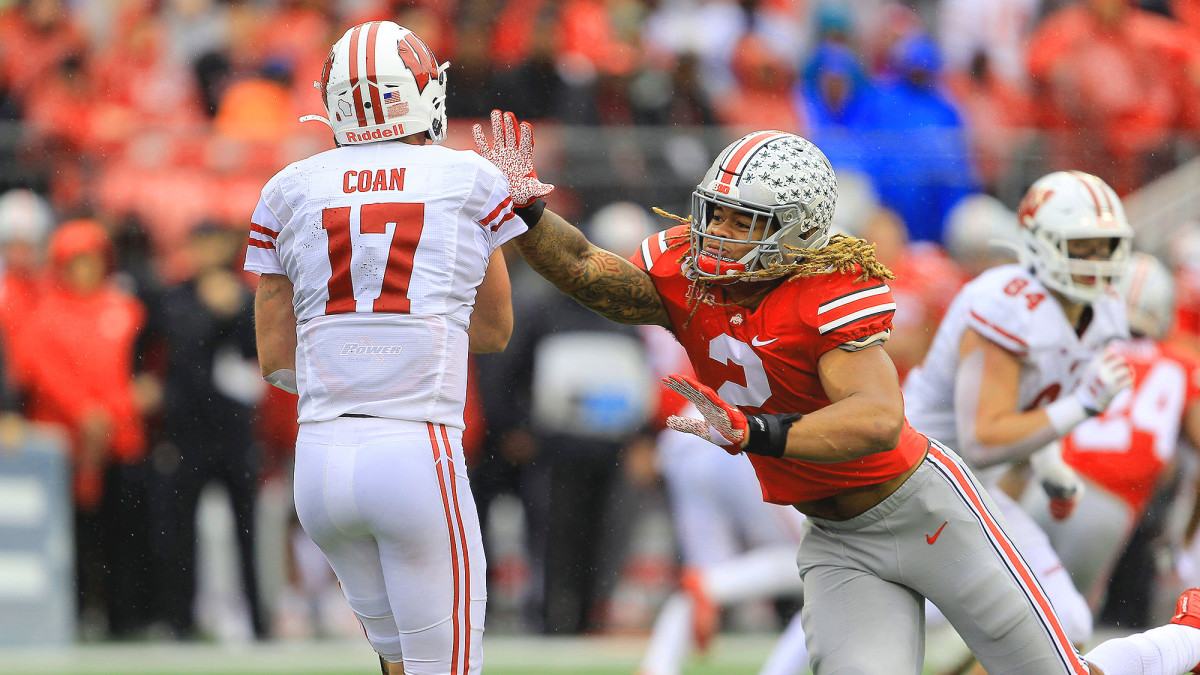 Chase Young had four sacks against the Badgers in a 38–7 Ohio State rout.