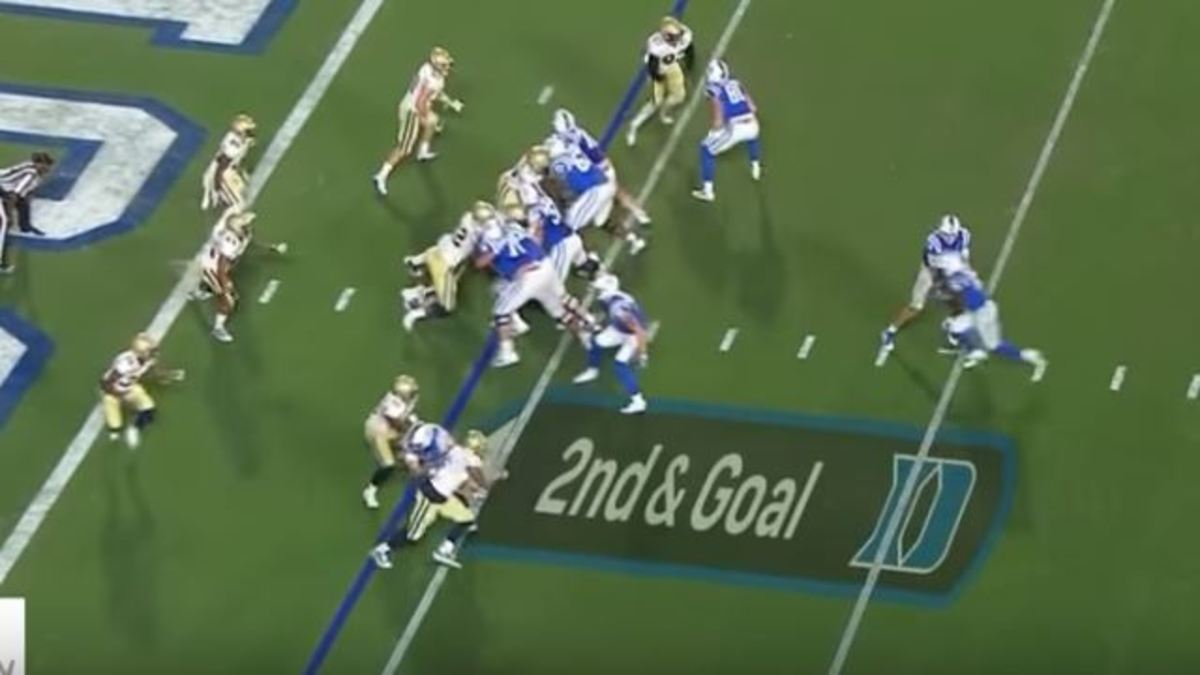The handoff (above the Duke D) as Helm (bottom, on the blue line of scrimmage) blocks.