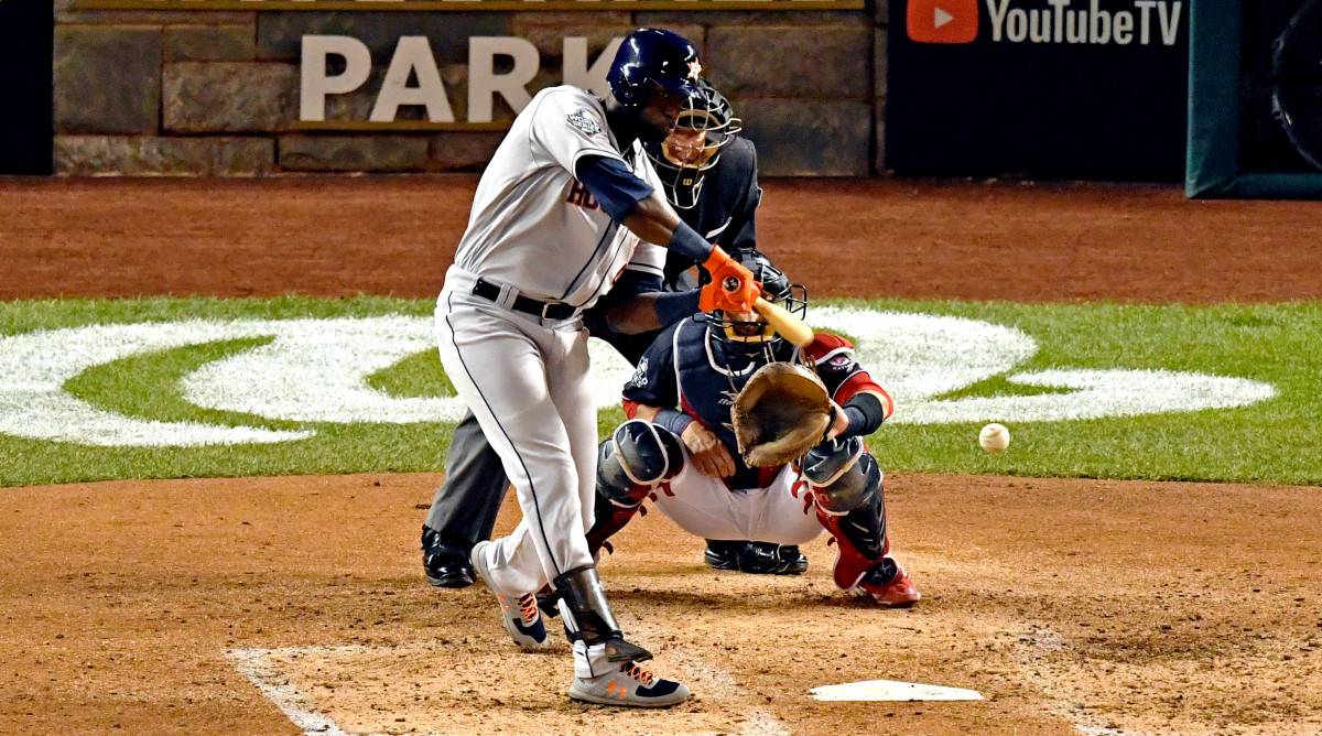 Oct 27, 2019; Washington, DC, USA; Houston Astros left fielder Yordan Alvarez (44) hits a single during the fourth inning against the Washington Nationals in game five of the 2019 World Series at Nationals Park. Mandatory Credit: Tommy Gilligan-USA TODAY Sports