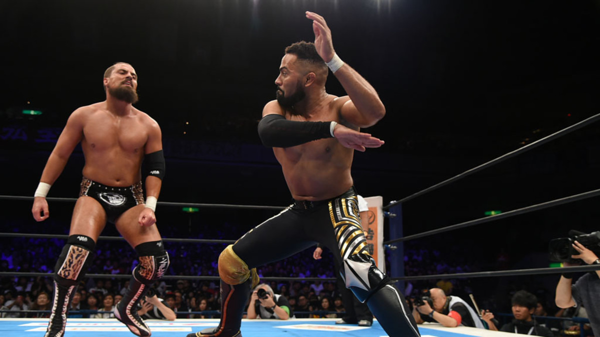 NJPW's Rocky Romero wrestles against Marty Scurll