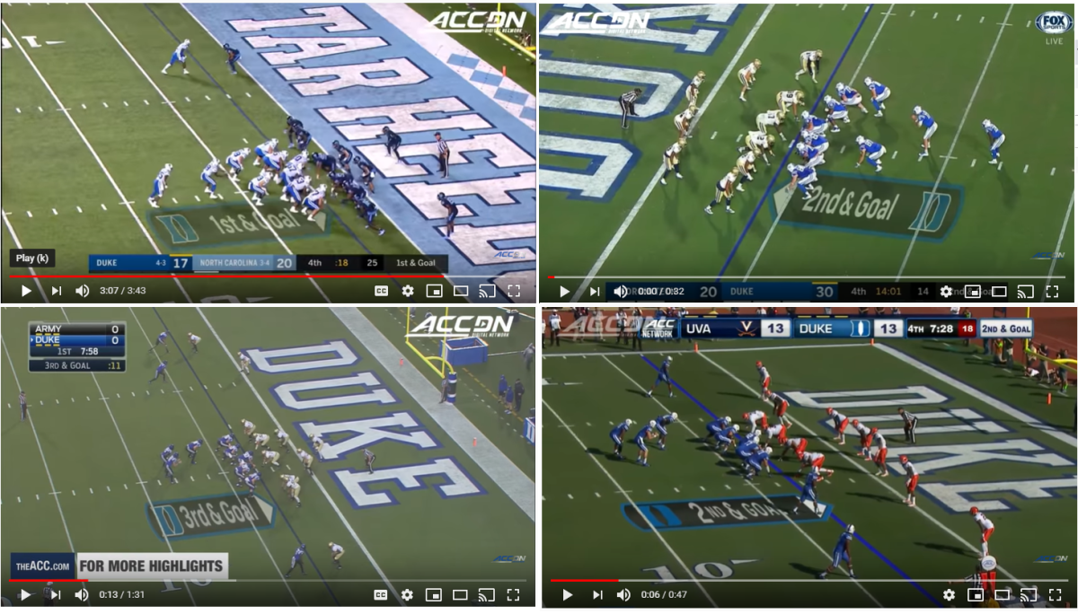 The pop pass has been a staple for Duke inside the 5-yard line and the formation has often been similar.