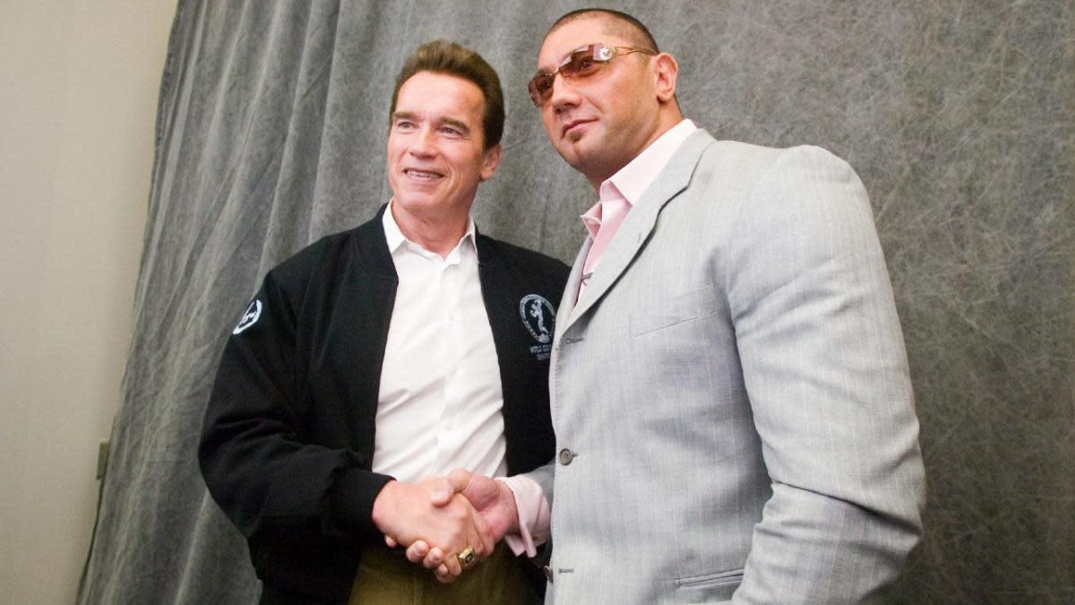 Arnold Schwarzenegger with Dave Bautista