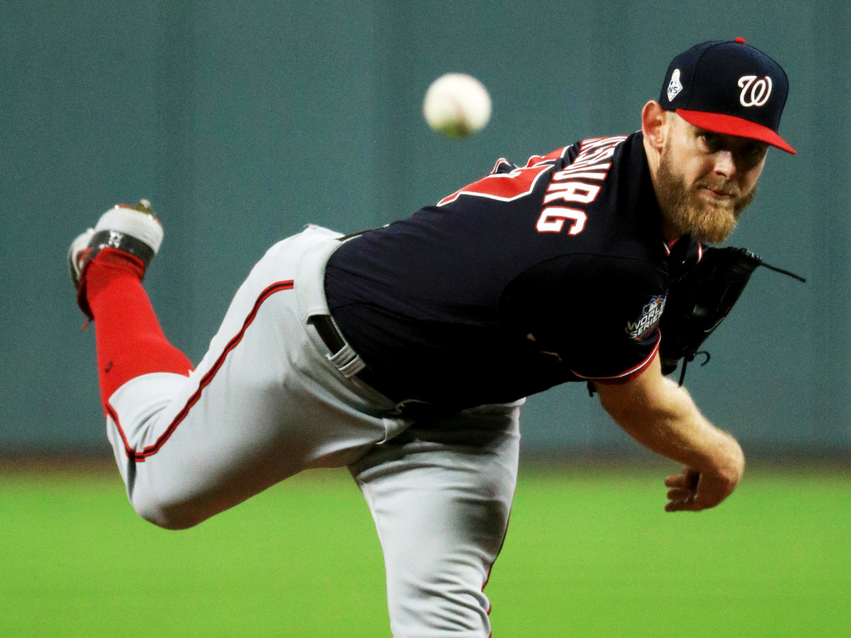 Oct 29, 2019; Houston, TX, USA; Washington Nationals pitcher Stephen Strasburg throws a pitch against the Houston Astros  in the first inning in game six of the 2019 World Series at Minute Maid Park. Mandatory Credit: Mike Ehrmann/Pool Photo via USA TODAY Sports