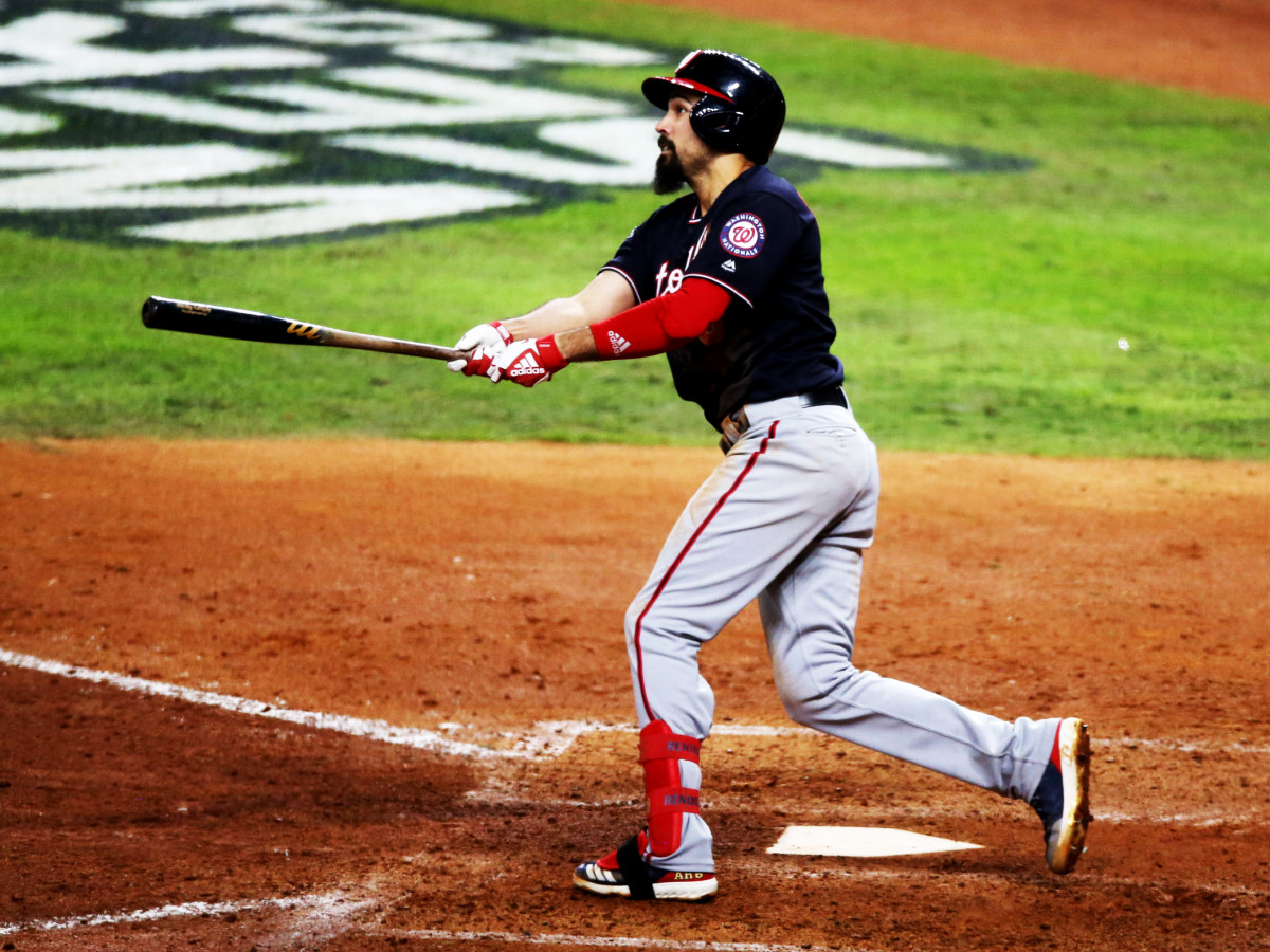 Oct 30, 2019; Houston, TX, USA; Washington Nationals third baseman Anthony Rendon (6) hits a solo home run against the Houston Astros during the seventh inning in game seven of the 2019 World Series at Minute Maid Park. Mandatory Credit: Thomas B. Shea-USA TODAY Sports