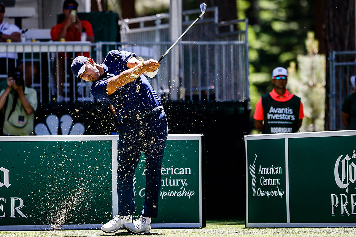 Tony Romo tees off at the American Century Championship.