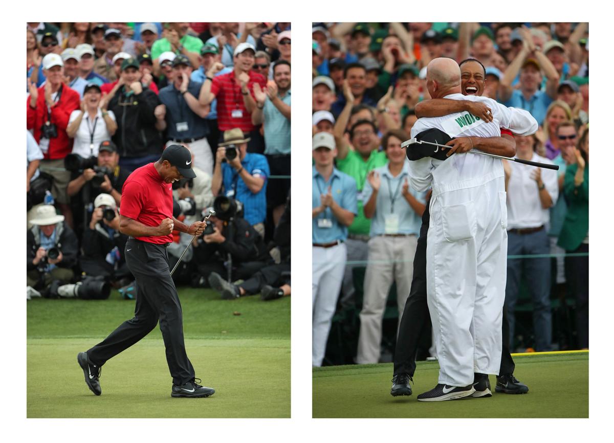 Tiger Woods and caddie Joe LaCava (right)