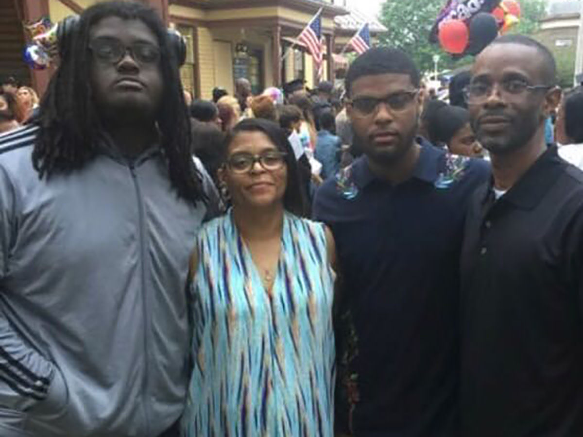Braeden Bradforth with, from left to right, his mother Joanne Atkins-Ingram, brother Bryce Bradforth, and stepfather Robert Ingram Jr.