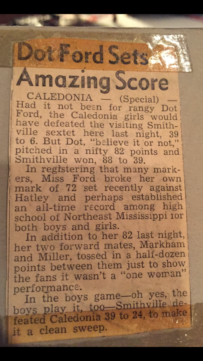 Joe Burrow's family athletic lineage dates back to the 1940s, when his grandmother, Dot Ford, averaged more than 50 points a game as a high school basketball star. She once set the state record by scoring 82 in a single game. This is the newspaper article about that game.