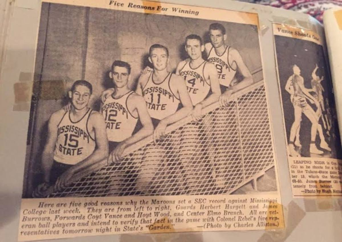 Joe Burrow comes from a sports family. His grandfather, James, played point guard at Mississippi State in the 1940s and 1950s. He's pictured here second from the left in the No. 12 jersey.