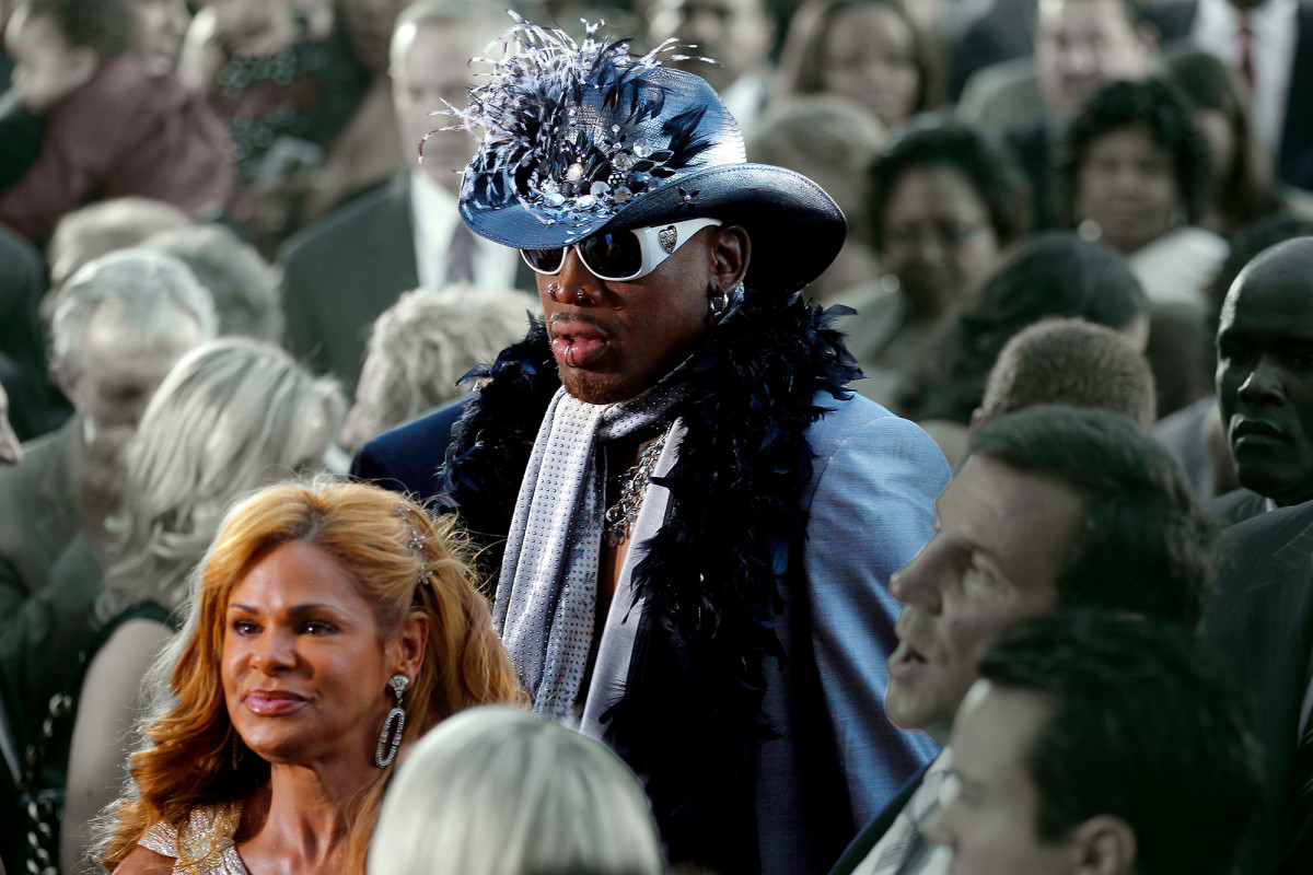 Peggy with Rodman at his Hall of Fame ceremony.