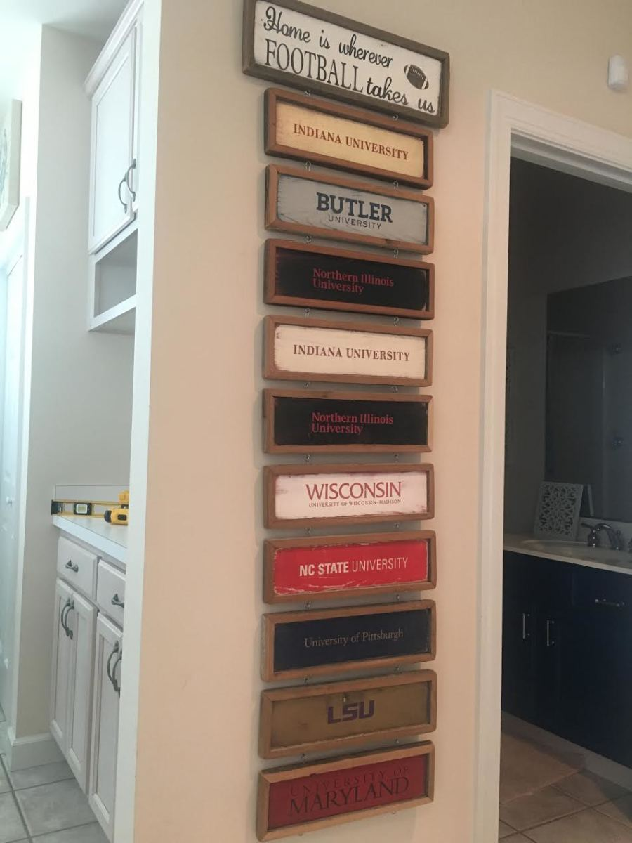 This hangs in the entry way of Matt Canada's beach house in North Topsail Beach, North Carolina. It is a career ladder with each of his coaching stops in chronological order.