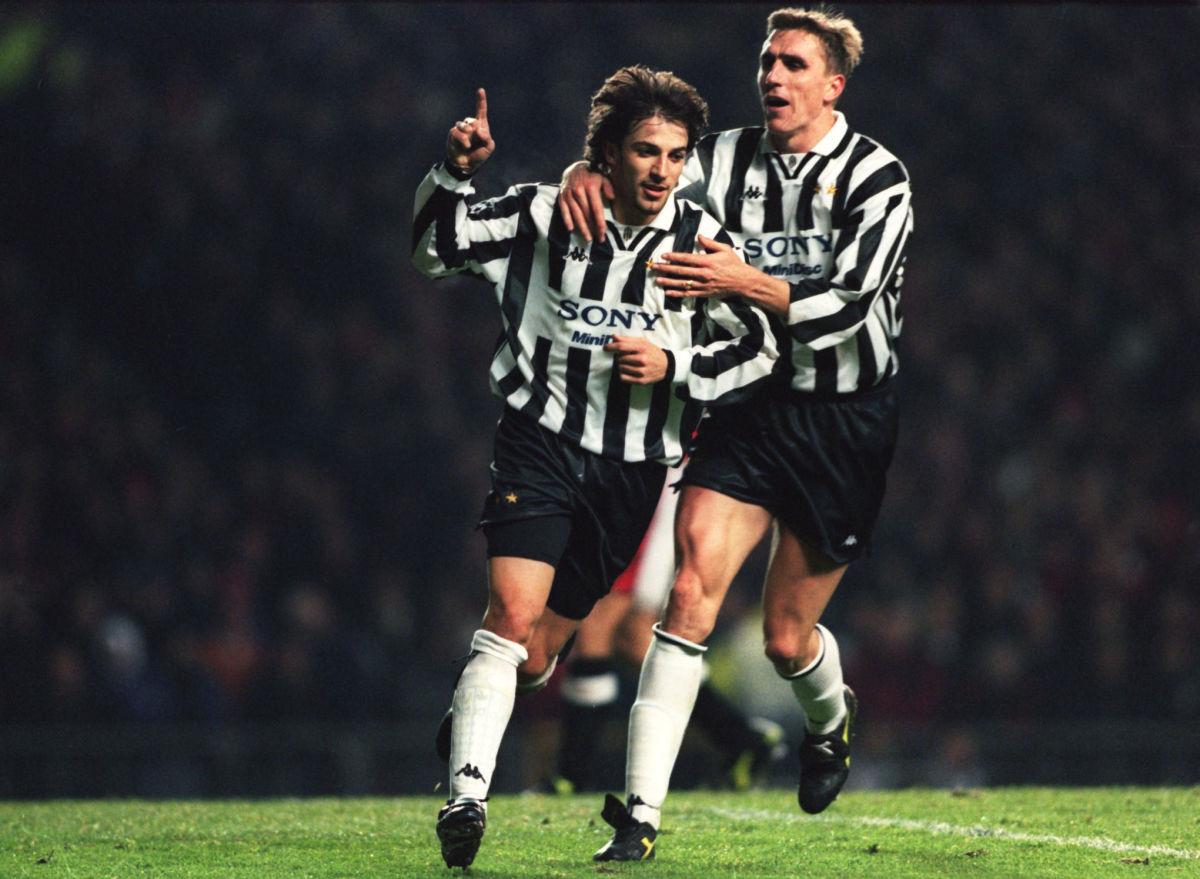 Alessandro Del Piero of Juventus (left) is congratualted by teammate Alen Boksic