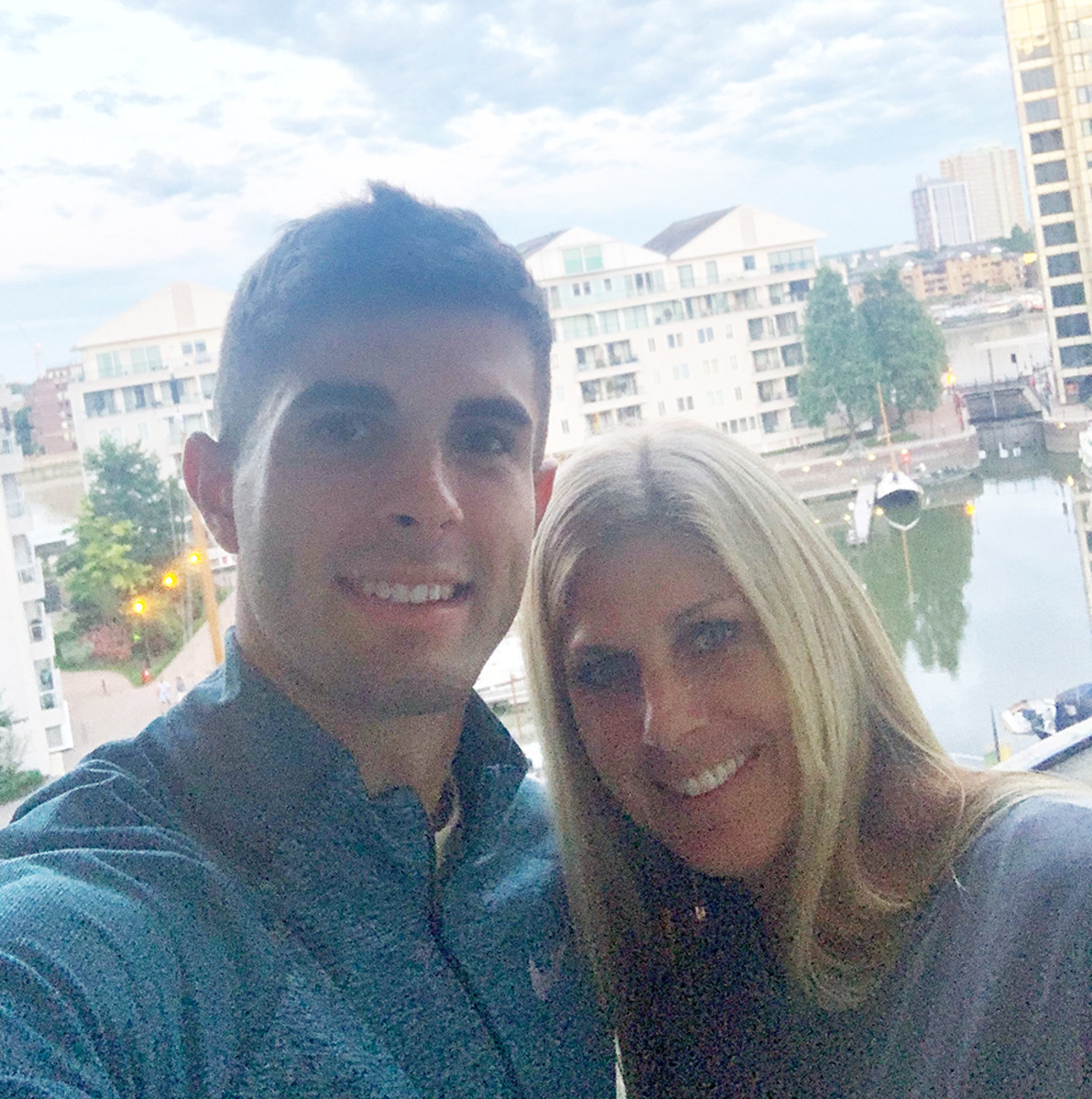 Christian and mother Kelley from this week enjoying the view at the Chelsea Harbour.