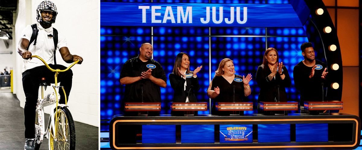 His bike remains Smith-Schuster's preferred mode of transportation. Meanwhile, he made an appearance on Celebrity Family Feud with (left to right): uncle John Toa, aunt Bernadine Toa, aunt Jane Faatoalia, and mom Sammy.