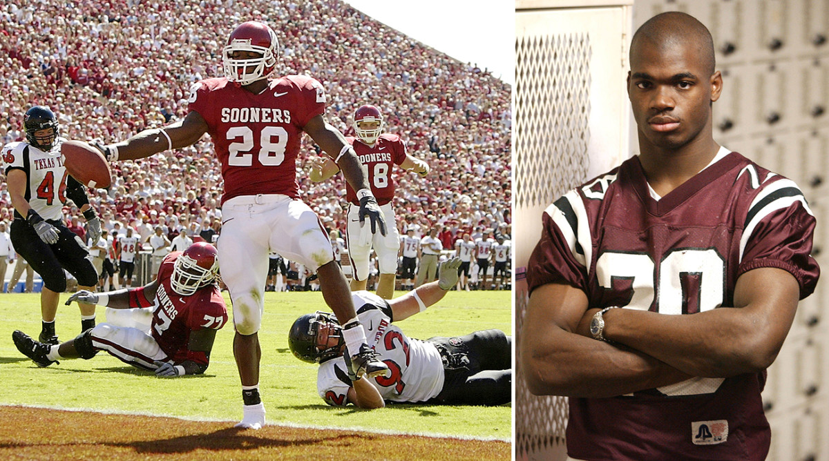 Peterson rolled over Big 12 opponents as a freshman (left). He said he was ready for the NFL after his senior season in high school (right).