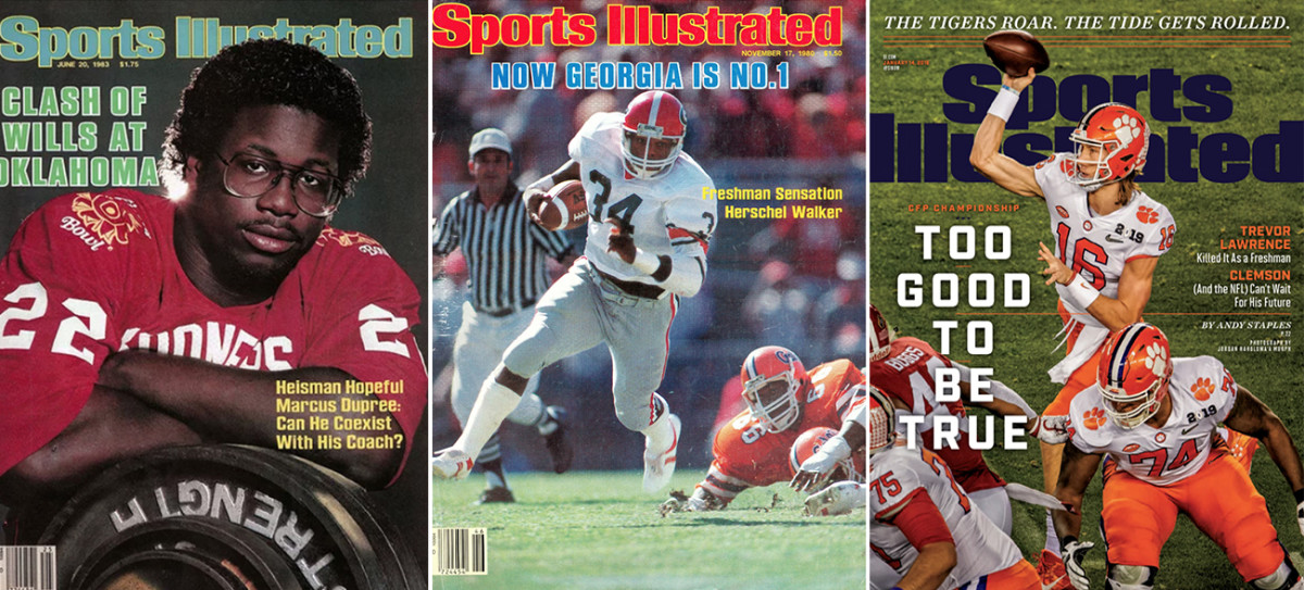 Marcus Dupree (left), Herschel Walker (center) and Trevor Lawrence (right) all landed an SI cover before their sophomore seasons.