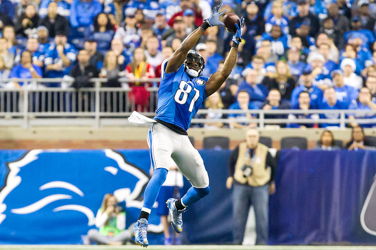 Calvin Johnson goes up for a catch in what would turn out to be his last NFL game at Ford Field.