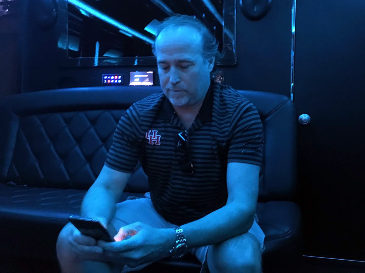 Even Holgorsen's party bus is subject to the whims of Houston traffic.