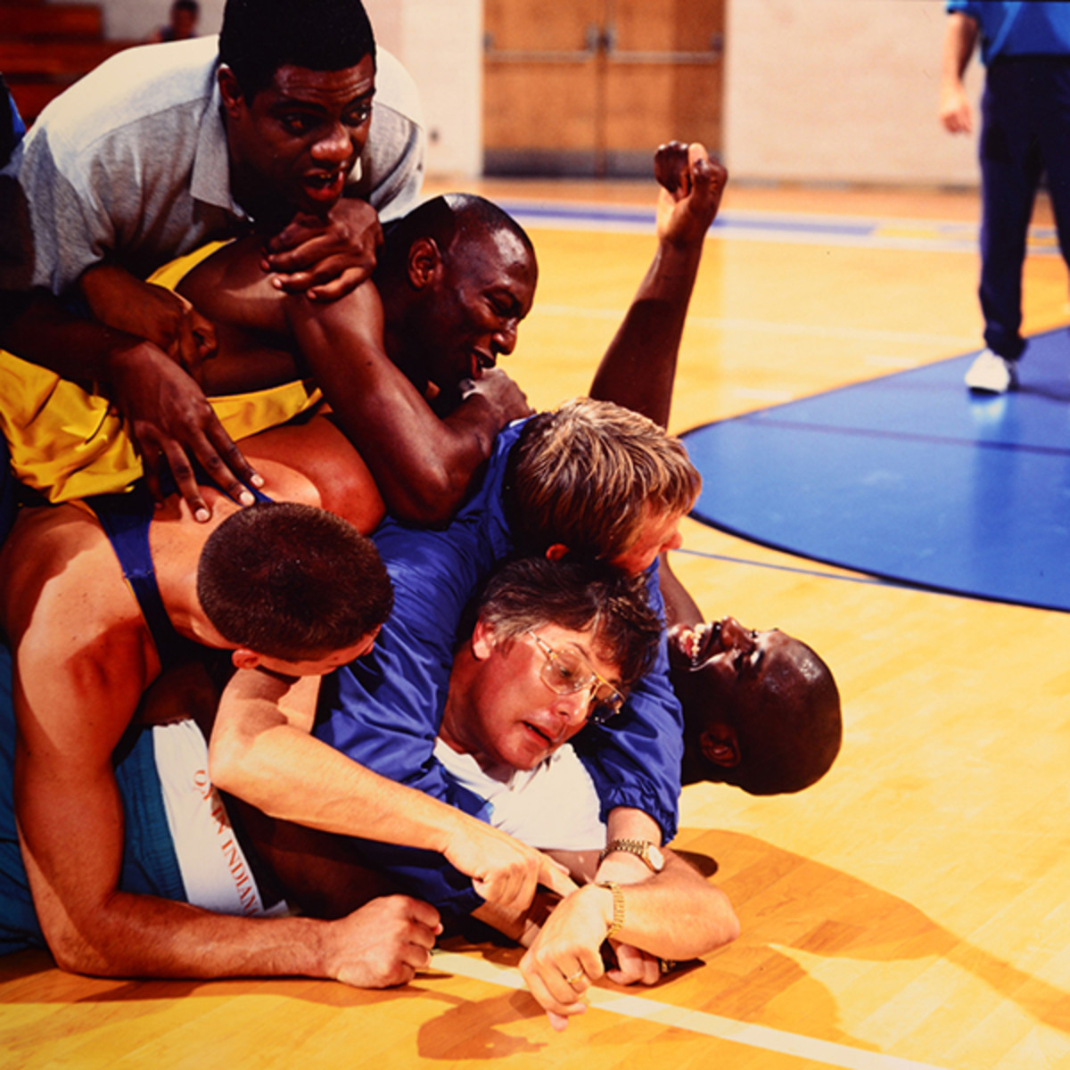 Friedkin (being mobbed on set, above) built his on-court cast around athletes, not actors.