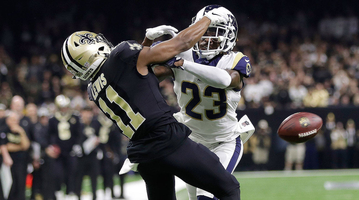 """Even Robey-Coleman (23) later admitted what Saints coach Sean Payton (right) knew at the NFC title game: """"Ah, hell yeah, that was P.I."""""""