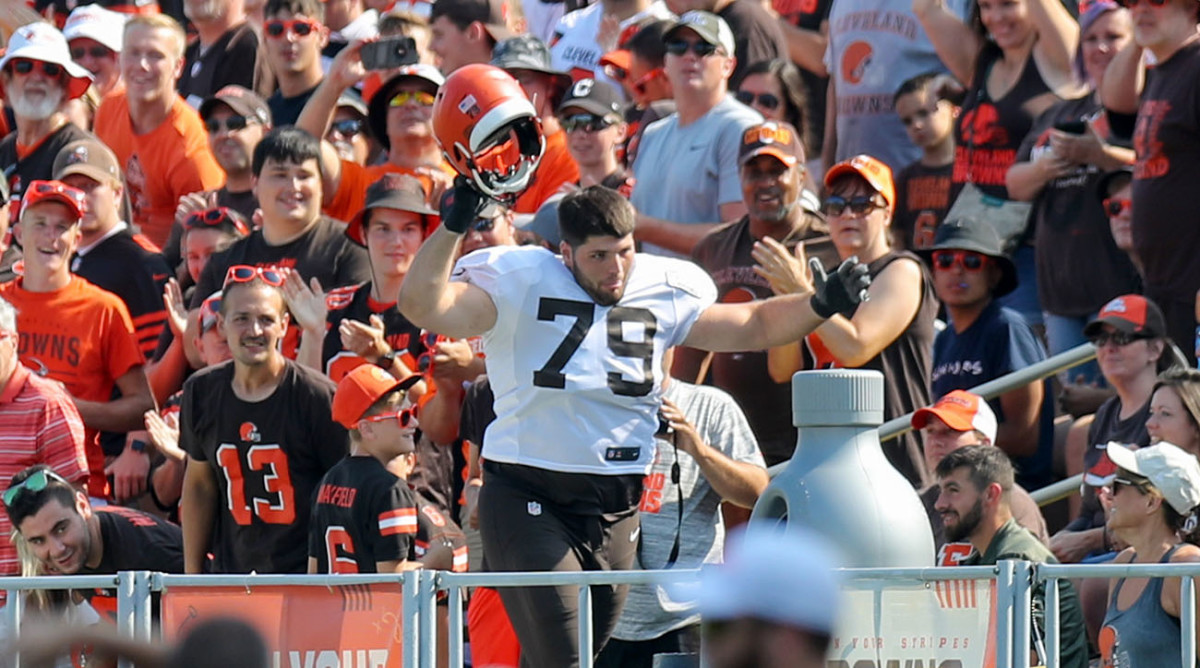 Among Forbes's rookie duties was firing up the training camp crowd.