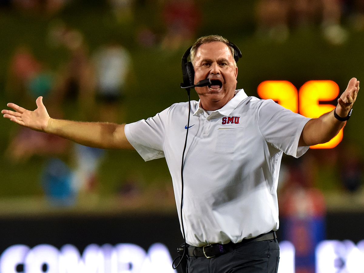 Oct 5, 2019; Dallas, TX, USA; SMU Mustangs head coach Sonny Dykes questions the call during the third quarter against Tulsa Golden Hurricanes at Gerald J. Ford Stadium. Mandatory Credit: Timothy Flores-USA TODAY Sports