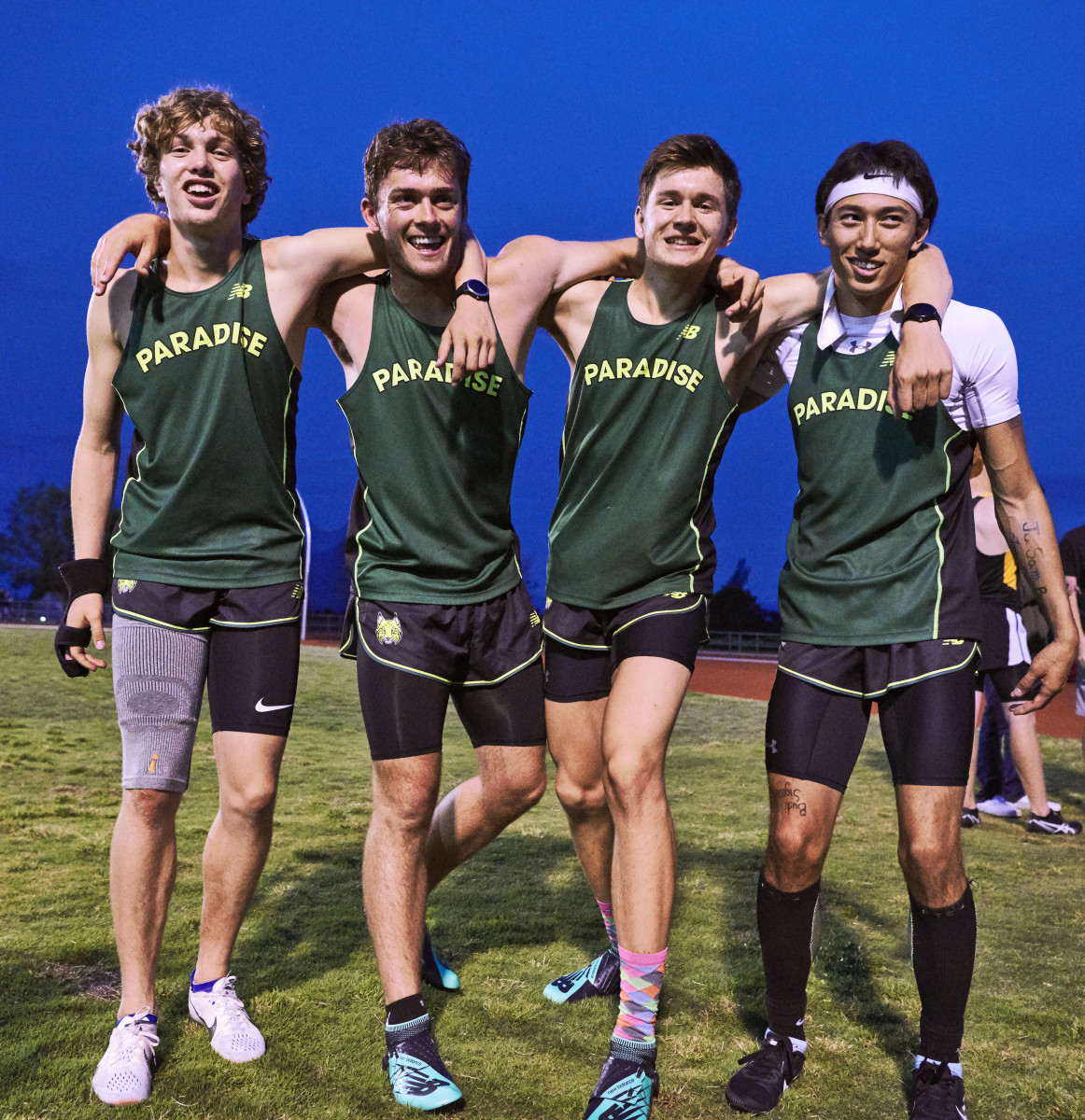 The 4x400 relay team of (from near right) Price, McKay, Roehling and Weldon overcame tremendous adversity to set a section record.