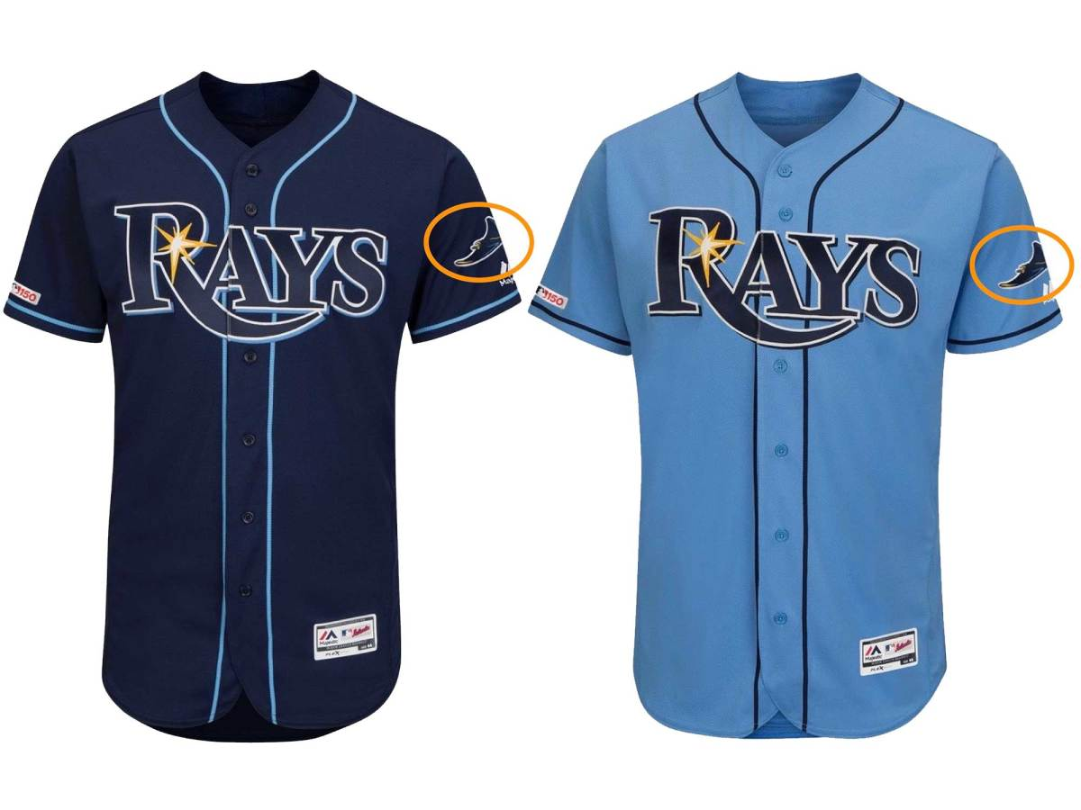 The swimming ray sleeve patch is a new addition to the Rays' blue jerseys this season.