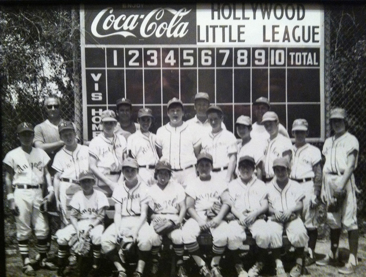 Reid's Hollywood Little League team photo, circa 1970. The 12-year-old Reid is in the middle of the back row, in the adult-sized jersey.