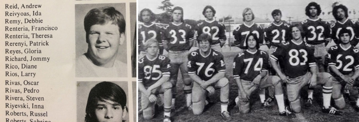 Andrew Reid, in ninth grade (left), and with the 1975-76 Marshall high football team (right, No. 76) a few years later.