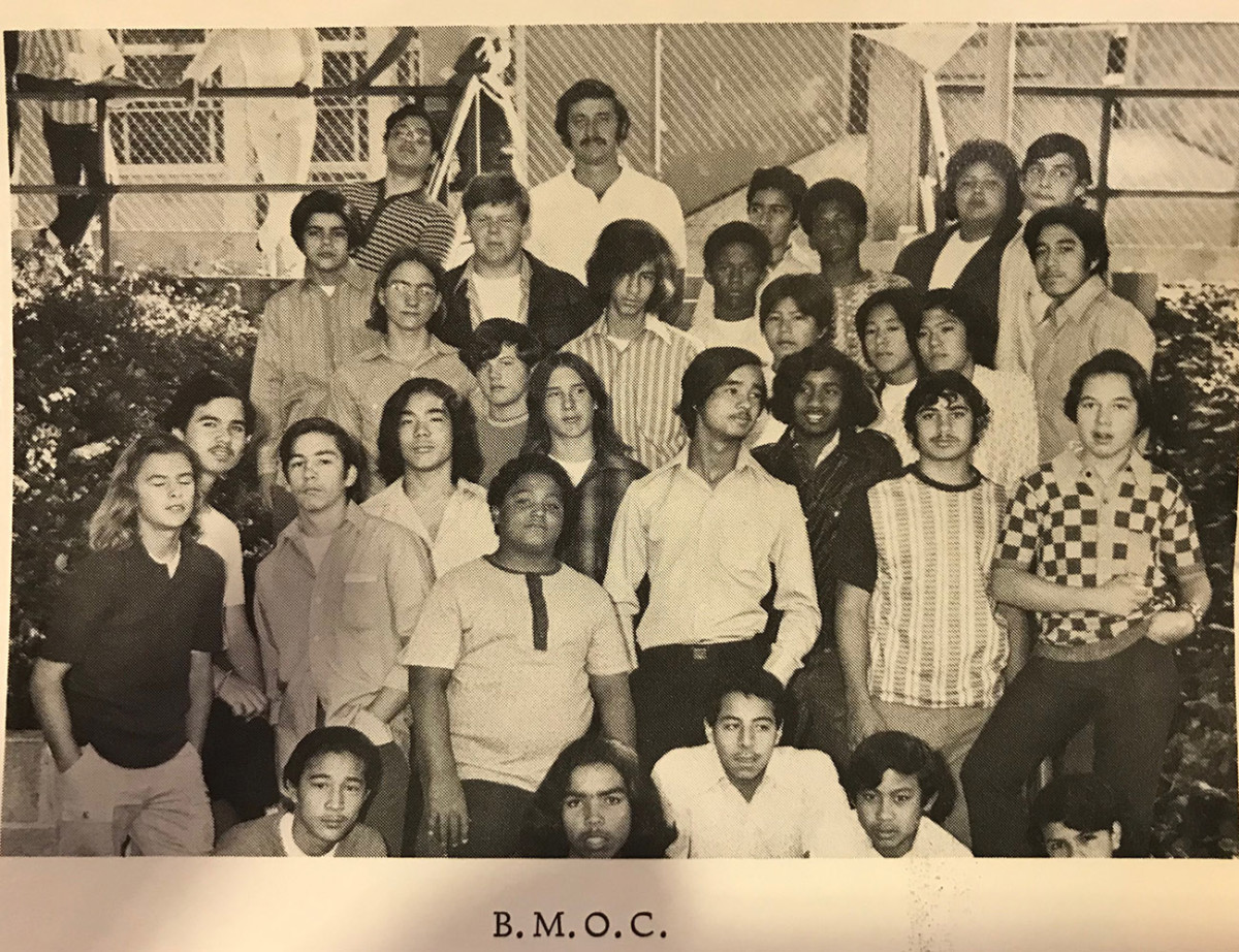 Reid (back row, second from left in black jacket) with the Thomas Starr King Junior High Big Men on Campus, who helped keep the peace around the school.