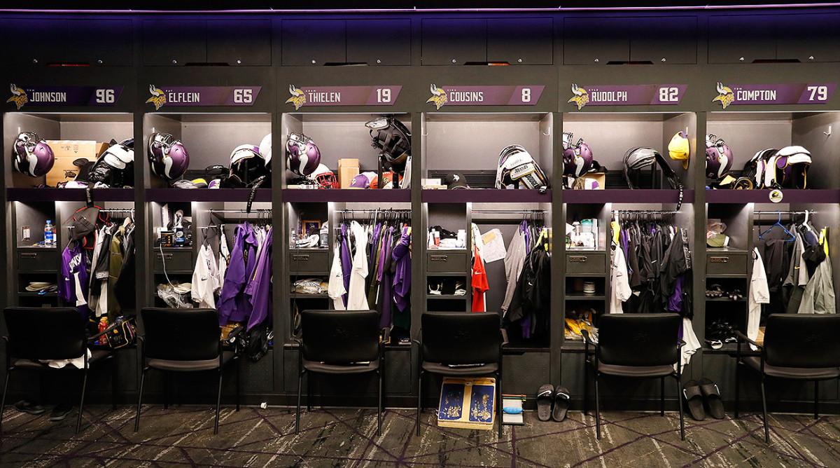 The Vikings' locker room at the team's new facility.