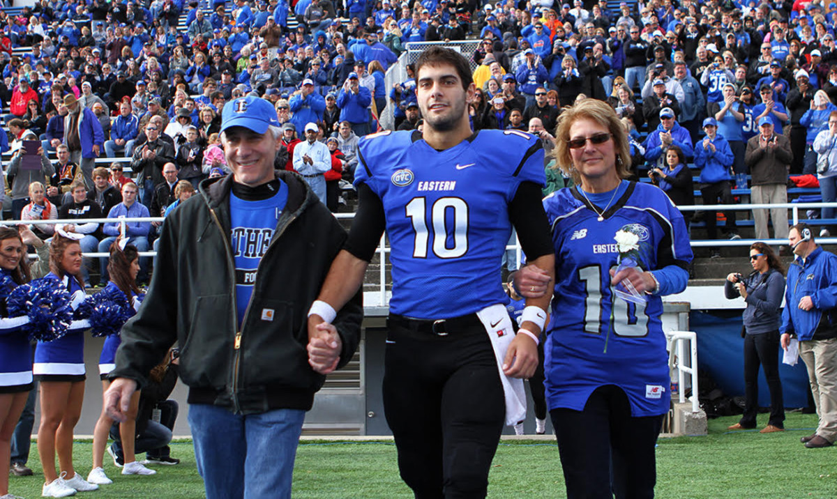 Garoppolo with parents Tony and Denise at EIU's Senior Day in 2013.