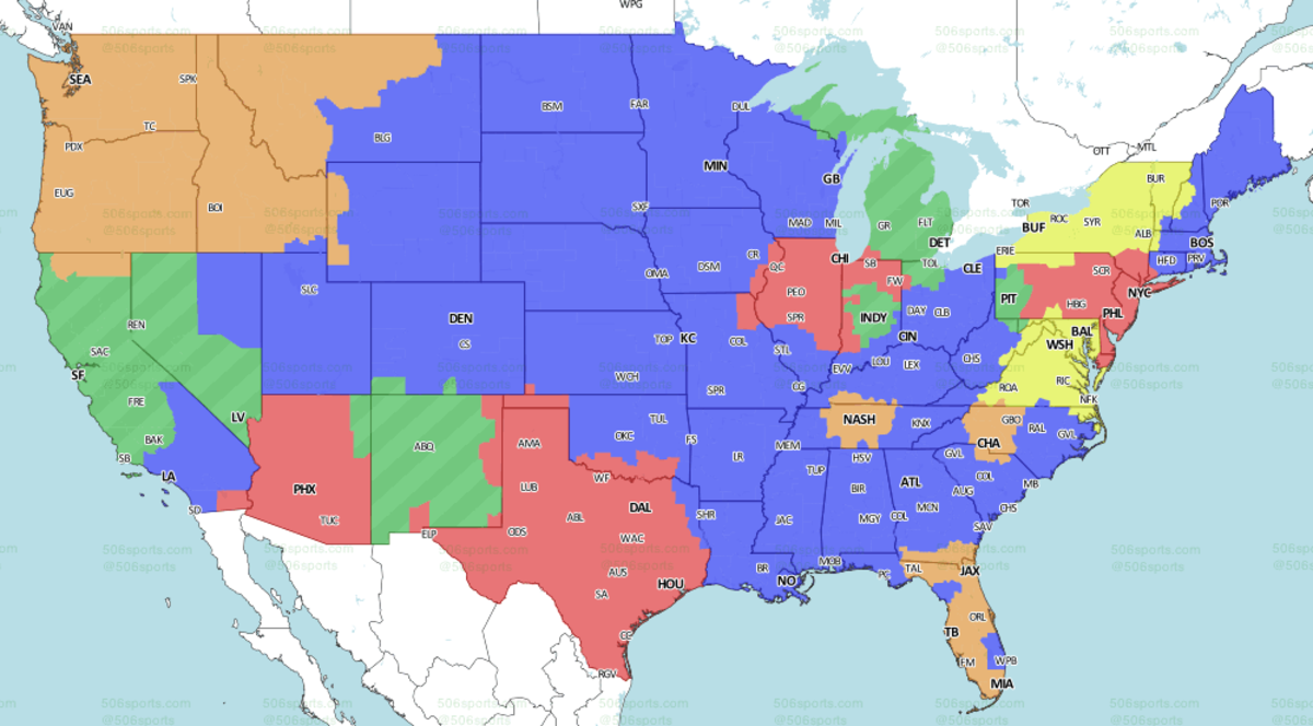 Red: CHI @ PHI | Blue: MIN @ KC | Yellow: WAS @ BUF | Green: DET @ OAK (late) | Brown: TB @ SEA (late)