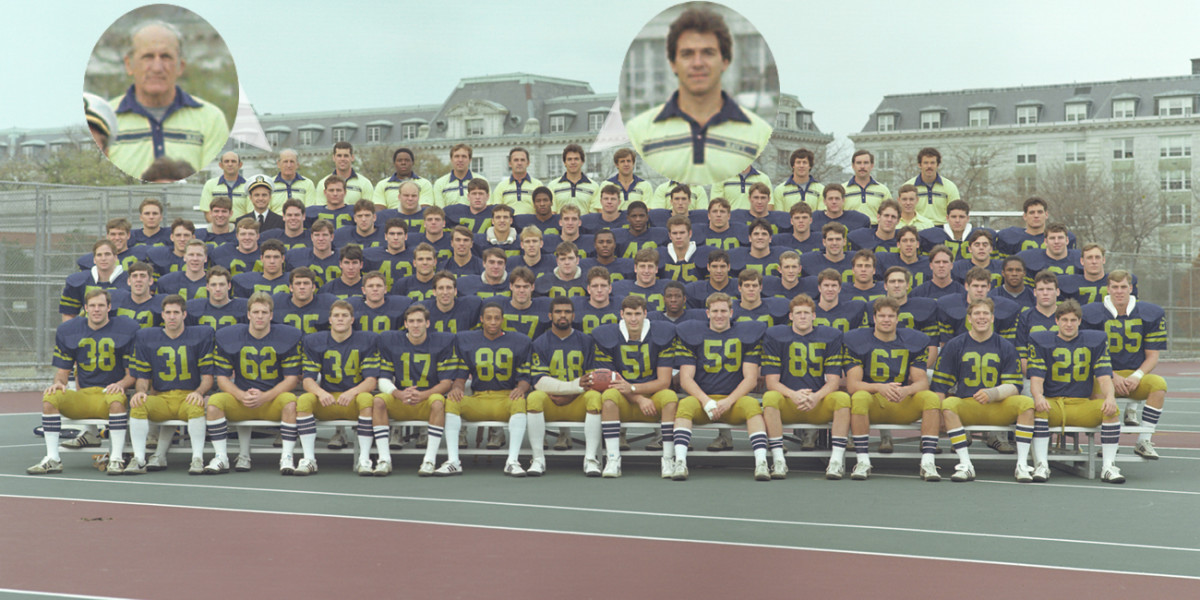 The team photo for the 1982 Navy football team, including veteran coach/scout Steve Belichick and first year defensive backs coach Nick Saban.