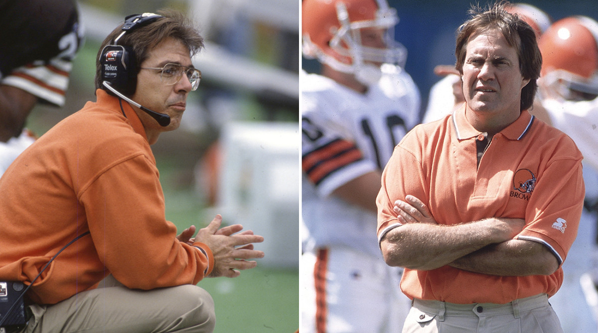 Saban (left) was Belichick's first hire with the Cleveland Browns.