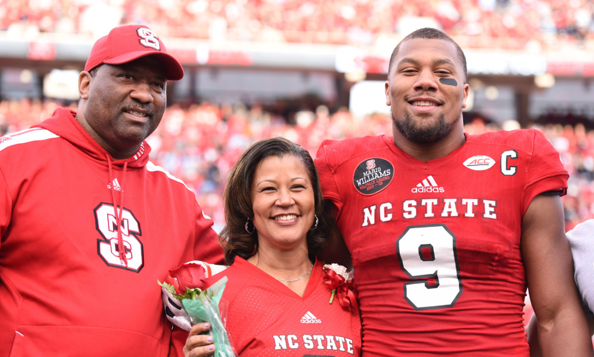 Aaron, Stacey and Bradley at N.C. State's Senior Day in November.