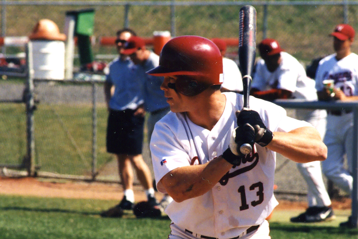 Steve Gleason up to bat for the Cougers on a much warmer day than March 27, 1999.