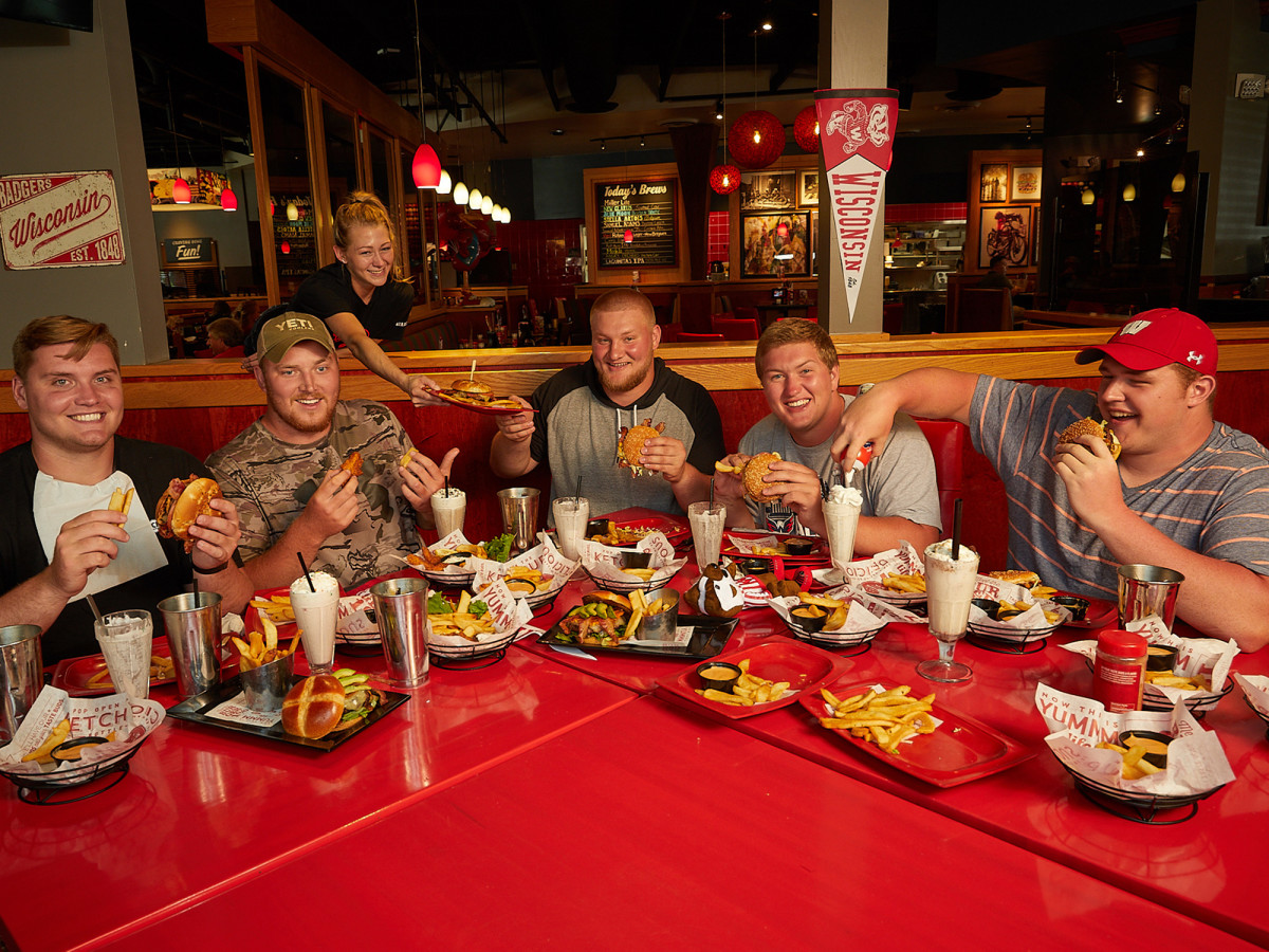 It takes 15 orders of french fries and a total of roughly 19,052 calories to sate the 1,582 pounds of Badger brawn at this Madison-area Red Robin. Edwards, Benzschawel, Biadasz, Deiter and Dietzen have combined for 130 career starts.