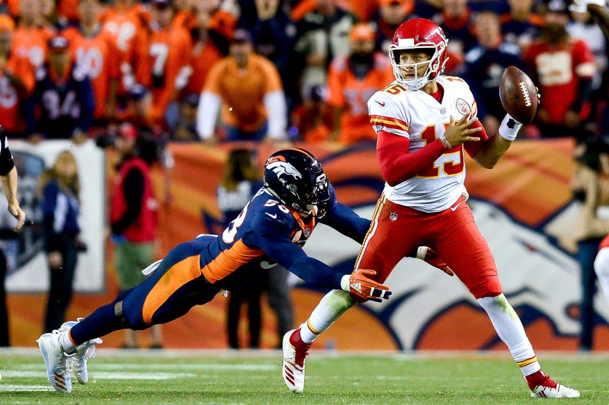 Mahomes' lefty throw against the Broncos was just the latest jaw-dropper in a four-week tour de force to open the 2018 season.